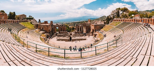 May 20, 2018. Taormina, Italy. The caldron of the ancient Greek Theater of Taormina in the burning sunshine. Sicily, Italy. Panorama.