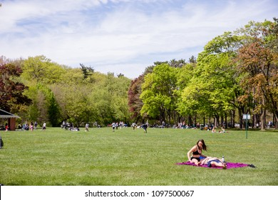 MAY 20, 2018 - TORONTO, CANADA: A YOUNG COUPLE TOGETHER ON A BLANKET. CAUCASIAN WOMAN AND MAN. MAN IS LYING DOWN, HEAD ON WOMAN'S LAP. OPEN FIELD AND TREES SURROUND THEM.