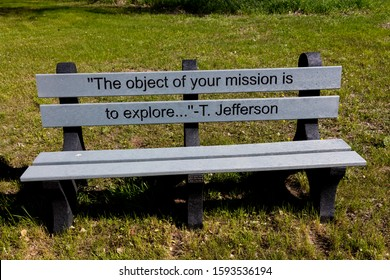 """MAY 20, FORT MANDAN, NORTH DAKOTA, USA - Thomas Jeffersion quote on bench about """"mission to explore"""" - Fort Mandan, North Dakota re: Lewis and Clark Expedition"""