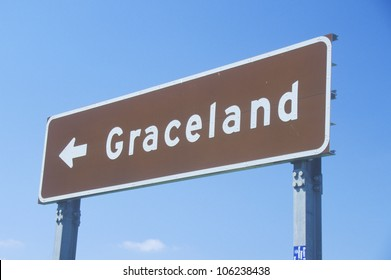 MAY 2004 - Directional sign to Graceland, home of Elvis Presley, Memphis, TN
