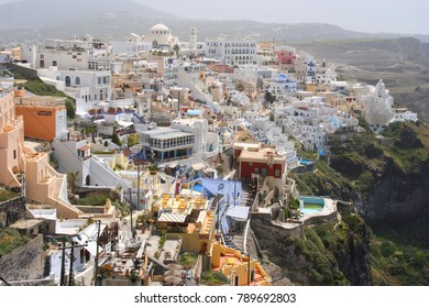 May 2010: Photo from iconic village of Fira in volcanic island of Santorini, Cyclades, Greece