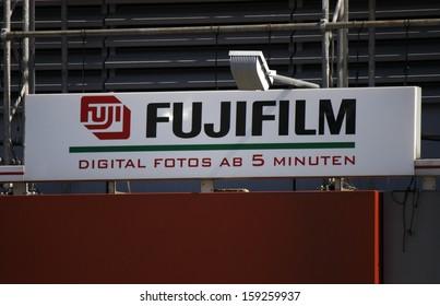 """May 2012 - BERLIN: the logo of  """"Fujifilm"""", Berlin."""