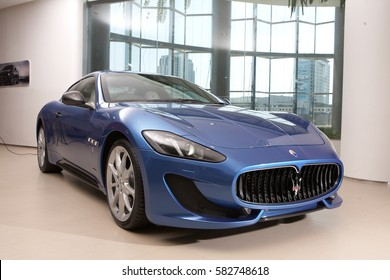 May 2013, Bangkok, Thailand : The blue Maserati car in showroom at paragon store in Bangkok