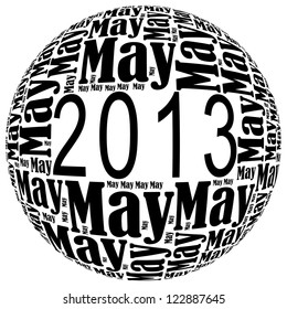 May 2013 info-text graphics arrangement on white background