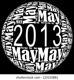 May 2013 info-text graphics arrangement on black background