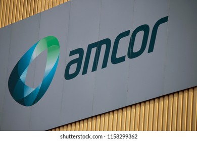 """MAY 2015 - BERLIN: the logo of the brand """"Amcor""""."""