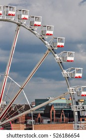 MAY, 2015 - Rotterdam, Netherlands ferris wheel closeup. The temporary big wheel is located close to the Markthal
