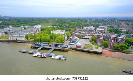May 2016: Aerial bird's eye view photo taken by drone of Greenwich village Cutty Sark historic clipper, London, United Kingdom