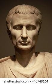 MAY 2016 - BERLIN: a portrait bust of Ancient Roman Empire Imperator Gaius Iulius Caesar (Gajus Julius Caesar).