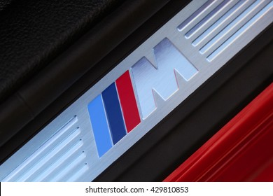 MAY 2016 - MOSCOW: Symbol of the BMW M on the threshold in BMW X4 35i xDrive. Badge of BMW M series.