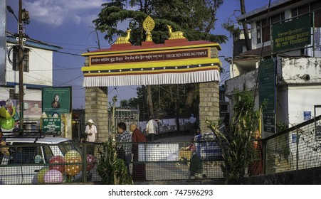May 2017, Dharamsala, McLeod Ganj, Himalayas,the entry gate to the main temple Theckchen Choeling,