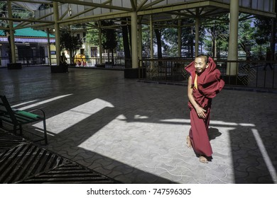 May 2017, Dharamsala, McLeod Ganj, Himalaya, a young monk practices his moves for the exercise of Tibetan discussion