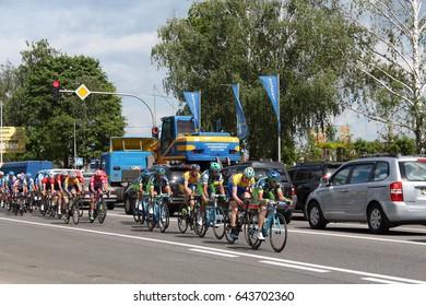 "May 2017. International cycling race ""Tour of Ukraine- 2017"". The Nove highway. Bucha. Kiev. Ukraine."
