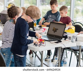 May, 2017. Minsk, Belarus.  Robotics competitions in Minsk. Robot Lego WeDo. Education of children and teenagers. STEM. E-learning.
