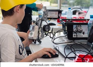 May, 2017. Minsk, Belarus.  Robotics competitions in Minsk. Robot Lego Mindstorms EV3. Education of children and teenagers. STEM. E-learning.