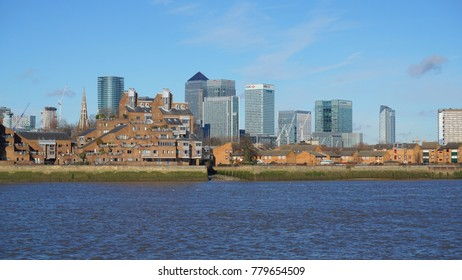May 2017: Photo from iconic Canary Wharf skyline in isle of Dogs as seen from Greenwich, London, United Kingdom