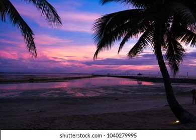 May 2017. Purple sunset on Mactan island. Pacific Cebu Resort. Cebu. Philippines