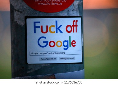 "MAY 2018 - BERLIN: a sticker with the Slogan ""Fuck off Google"", Berlin."