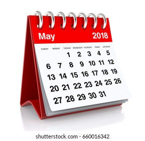 May 2018 Calendar. Isolated on White Background. 3D Illustration