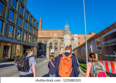 May, 2018- Copenhagen- The most populous city of Denmark, people travel around the city center and Carlsberg museum.