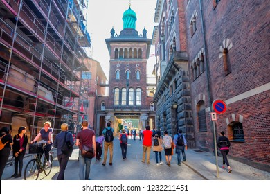 May, 2018- Copenhagen- The most populous city of Denmark, people travel around the city center in and Carlsbergmuseum.