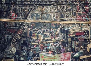 May 2018 - Delhi, India - Busy street in old Delhi