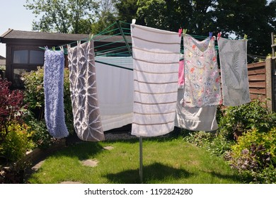 May 2018 - Domestic washing drying on a clothesline in Kent