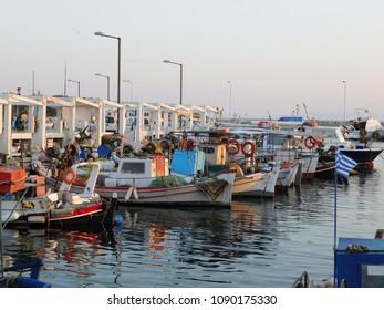 May 2018, Glyfada, Attica, Greece. Fishing boats in harbour