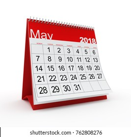 May 2018 Monthly Calendar. 3d rendered illustration.