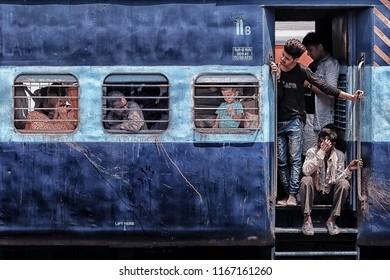 May 2018 - New Delhi, India - Second class car in New Delhi railway station