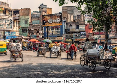 May 2018 - Old Delhi, India - Busy street in old Delhi, India