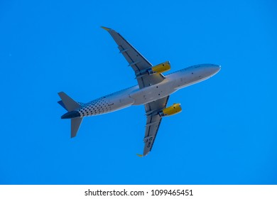 MAY 2018: Vueling Airbus A320 plane taking off in El Prat airport (Barcelona).