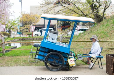 "May 2019 - Aomori,JAPAN: ""Chirin Chirin Ice Cream"" is welknown in Hirosaki where you'll find old lady selling ice cream on street corners around Hirosaki Park."