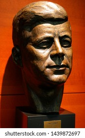 MAY 2019 - BERLIN: the portrait bust of former US President John F. Kennedy, Kennedy Institut, Freie Universitaet Berlin.