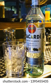 May 2019 Billardgarage Bautzen Bottle of Bacardi Superior at the bar counter. White Bacardi rum is one of the most common cocktail ingredients. It was created in 1862 in Cuba