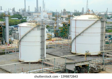 May 2019 Rayong, Thailand. Large industrial tanks for petrochemical or oil or fuel or water in refinery or power plant of petrochemical industrial estates area.