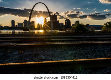 MAY 2019, ST LOUIS, MO., USA - Sunset on St. Louis, Missouri skyline on Mississippi River - shot from East St. Louis, Illinois