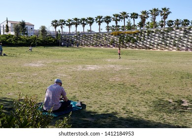 MAY 2019 - VALENCIA, SPAIN - Rest area in the central Parc of Valencia