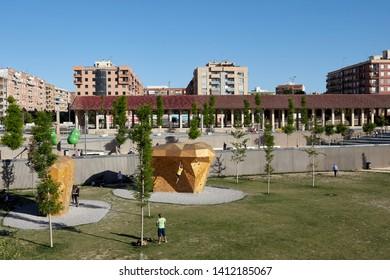 MAY 2019 - VALENCIA, SPAIN - Urban climbing area in the Central Park of Valencia