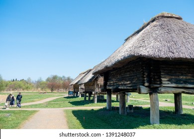 May 2019-Aomori, JAPAN: Reconstructed of houses during Jomon Period at Sannai Maruyama Archeological Site.Many pit buildings, pillar-supported buildings,mounds, and burial pits and jars were unearthed