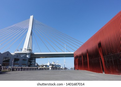 May 2019-Aomori,JAPAN: Aomori Bay Bridge and Nebuta Museum Warasse at Aomori is a famous tourist area.