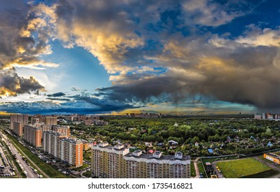 May 2020. Beautiful dark sky in Drozhzhino village. Panorama view. Moscow area. Russia.