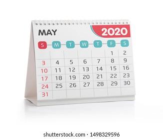 May 2020 Desktop Calendar Isolated on White