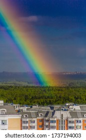 May 2020. Panorama view of Drozhzhino area with rainbow. Moscow area. Russia.