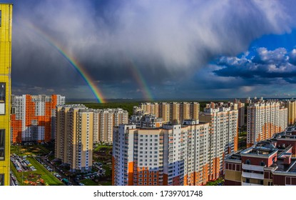 May 2020. Rainbow in Drozhzhino village. Moscow area. Russia.