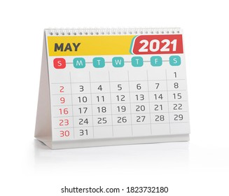 May 2021 Office Calendar Isolated on White