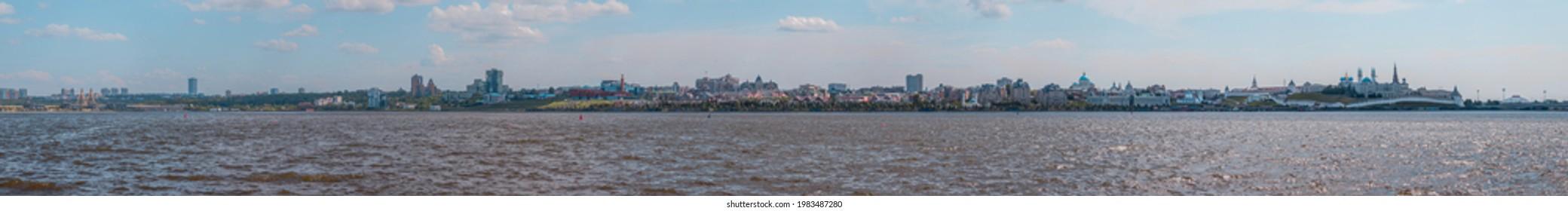 "May 2021. Panorama view of Kazan city. View from ""Kazan wedding ovservation area""."