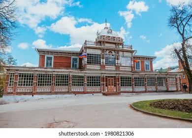 May 2021. Traditional wooden art museum in Ryazan city. Ryazan. Russia.