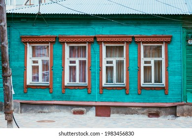 May 2021.Traditional windows with carved wooden frames. Old wooden houses. Kolomna town. Russia.