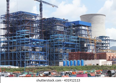 MAY 21, 2014 : HONGSA - LAO PDR : Coal fire Lignite power plant and 500 kV switchgear under-construction in Hongsa district, Lao PDR.